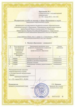 Свидетельство аккредитация ЧВВМУ 2